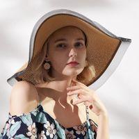 Sombreros de ala ancha Sol de la vendimia para las mujeres Muchachas 17cm Sombrero de paja floppy Gran verano Bohemia Beach Playa Sunhat Cap Ribbon Chapeau Black Lace
