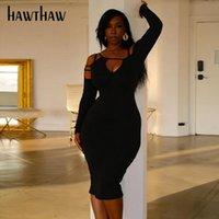 Hawthaw Femmes Automne Hiver Manchon à manches longues V ossature Couleur Couleur Bormon Sans épaule Package HIP ROBE 2020 Vêtements automnes Streetwear
