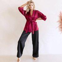 Damen Nachtwäsche HILOC Langarm Satin Robe Sets mit Schärpen Black Hose Lose Pyjama Set Frauen Anzug Bademantel Für Home Seide 2021