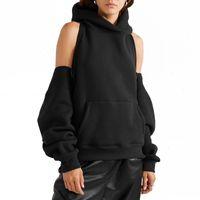 Chicever Черные женские кофты с капюшоном с капюшоном с капюшоном с длинным рукавом молния без спины с плечом толстовка пружина мода одежда новый 201203