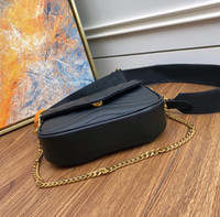 Bolsa de Pochette de cuero Nuevos Hombres Cuero de cuero genuino Mini Paquete de Hombro Set Satchel Handbag Cuerpo Presbiáfico para Lady Twin Multi Bag WA WHPC