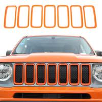 ABS Front Mesh Grille Inserts Grill Couvercle Garniture Orange pour Jeep Renegade 2019-2020 Auto Exterior Accessoires
