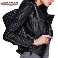 MapLesteed Натуральная кожаная куртка женская кожаная куртка из овчины черный мягкий тонкий подходящий панк бомбардировщик женское кожаное пальто осень M049 Y201001