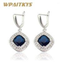 WPAITKYS Зеленые синие камни серебряные серьги с цветом для женщин ювелирные изделия бесплатная подарочная коробка1