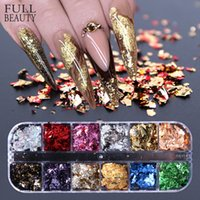 12 Izgara Tırnak Sequins Pullu Alüminyum Düzensiz Gevreği Altın Pigment Nail Art Dekorasyon Ayna Glitter Folyo Kağıt CH950-1