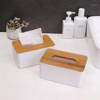 브랜드의 새로운 데스크탑 대나무 나무 티슈 상자 크리 에이 티브 다기능 휴대 전화 랙 홀더 종이 수건 상자 주최자 홈 Office1