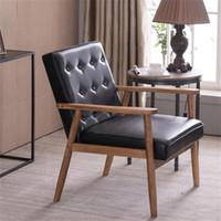 (75 x 69 x 84) cm Retro moderna cadeira única de madeira moderna e simples sofá preto PU