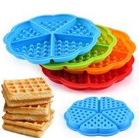 Molde de waffle silicona 5 waffle con forma de corazón molde de hielo DIY Pastel de hornear moldes de cocina Herramientas de molde DDC4795