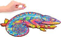 Деревянная головоломка Jigsaw, лучший подарок для взрослых и детей, уникальная форма головоломки радужный хамелеон, 12,2 х 16.1 в (31 х 41 см) 315 шт.