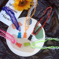 2021 Cartoon créatif animal ours d'animaux pendentif collier de bonbons couleur acrylique drôle multicouche colliers harajuku bijou de fête cool