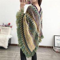 Fashion cloak Winter Warm Poncho Cape for Women V-Neck Pullover Tassel Herringbone Shawl knit Gradient retro blanket scarf