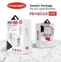 PD 18W DUAL USB PD CARGO RÁPIDO QC 3.0 para iPhone 12 Samsung S20 Cargador de pared rápido con paquete de venta al por menor