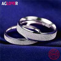 Agover 925 Ayar Gümüş Yüzükler Kadınlar Için Moda Basit Çift Mat Yüzükler Büyüleyici Kadın Severler Lüks Düğün Takı Y1119