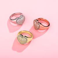 18 كيلو أبيض الذهب بلينغ القلب الحب مكعب زركون المرأة خواتم مثلجة خارج الماس الزفاف الاشتباك الفرقة الدائري الهيب هوب مجوهرات هدايا 652 K2