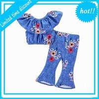 Été Nouveau Toddler Baby Girl Lotus Collier T-shirt T-shirt + pantalon évasé Bell Bas-Fleur Sun Flowth Tenue de mode E0125