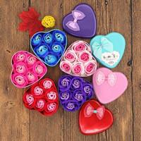 Contenitore di regalo di floreale del sapone creativo Contenitore di San Valentino Regalo Regalo di San Valentino Decorazione di San Valentino Fiore di Rosa Scatola di latta a forma di cuore