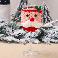 Conjunto de vidro de vinho de Natal Santa Claus Boneco de neve Decorações de Natal para casa Capa de Natal Decoração Feliz Ano Novo GGB2364