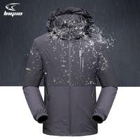 LNGXO Su Geçirmez Hiking Kamp Tırmanma Yağmurluk Erkekler Açık Ceket Softshell Rüzgarlık Goretex Avcılık Giysileri Q1202