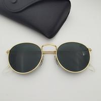 Metal redondo quadro óculos de sol homens mulheres moda vidro lente modelo driver gafas sol de diseñaor inclui caixa de couro amarelo e preto