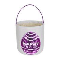 Sequins Mutlu Paskalya Sepeti Paskalya Tavşan Baskı Kova Tuval Bunny Sepet Çocuklar Paskalya Hunt Yumurta Şeker Depolama Kovaları Deniz Nakliye YL1387