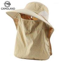 Camoland 2 em 1 verão UPF 50+ chapéu de sol homens mulheres à prova d 'água chapéu de pesca com face pescoço flap masculino ao ar livre caminhadas balde chapéus1