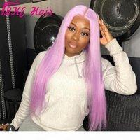 Perruque longue à longue pièce centrale pour femmes pourpre noir blanc blanc rose orange gris cheveux résistant à la chaleur dentelle synthétique perruque avant