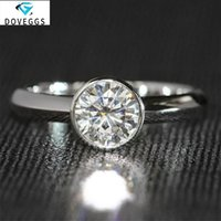 Anillos de racimo Doveggs 14k 585 Gold blanco 1 cct 6.5mm F Color redondo brillante Moissanite Diamond Engagemen para mujer Banda de boda