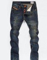 새로운 디자이너 망 청바지 마른 바지 캐주얼 럭셔리 청바지 남성 패션 고민 찢어진 슬림 오토바이 모토 바이커 데님 힙합 바지