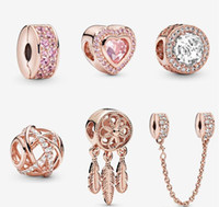 S925 Стерлинговые Серебряные Ювелирные Изделия DIY Beads Подходит для очарования стиля Pandora для браслетов Pandora для европейских розовых золотых браслетов