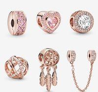 I monili Sterling Sterling S925 perline fai da te si adattano a fascino in stile Pandora per bracciali Pandora per Braccialetti in oro rosa europeo