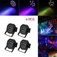 Beste 30W 18-RGB LED Auto / Voice Control DMX512 Hoogwaardige Materiaal Mini Stage Lamp (AC 110-240V) Zwart * 4 Bruiloft Party Moving Head Lights