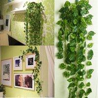 200 см Искусственные шелковые пластиковые симуляторы, восхождение лозы Зеленые листья плюща, ротанга для домашнего декора бар ресторан украшения