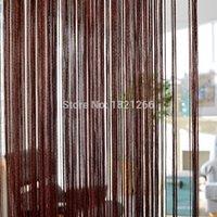 Feste Farbe String Vorhang 300 * 260 cm Kaffee grau Weiß Schwarz Klassische Linie Vorhang Fenster Blind Vanlance Zimmerteiler