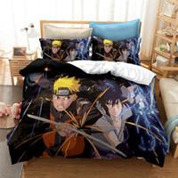 Conjunto de ropa de cama de lujo 3D Naruto Anime imprimió la cubierta de la cubierta del edredón Uzumaki Naruto Carácter Edredón / Cubierta de la manta Conjunto AU EE EE. UU. Tamaño Q1215