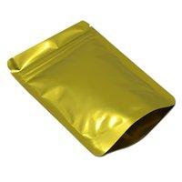 الذهبي الوقوف البريدي قفل الألومنيوم احباط حقيبة التغليف الحرارة ختم سستة حزمة الحقيبة التجزئة وجبة خفيفة الشاي ziplock حقيبة 100pcs / lot