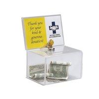 Caixa de coleta de doação acrílica contador, caixa de angariação de fundos de caridade de perspex com keylock para igreja, grupo não rentável, caridade lj201212