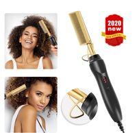 2 em 1 pente elétrico alisador varinha cabelo curling ferros cabelo encrespador pente quente endireitamento eléctrico pente titânio liga