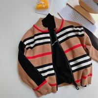 Children's Cardigan Novo Outono / Inverno 2020 Meninos e Meninas Listrado Cardigan Cardigan Bebê Redondo Pescoço Lã Zíper Camisola LJ201130