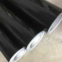 Hot Sale Shiny Glossy Black Vinyl Film med Air Bubble Free Gloss Black Car Wrap Folie Bilklistermärke 50x150 / 200/300 / 500cm