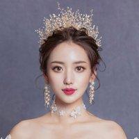Matrimonio Tiaras per Brides Gold Crystal Capelli Accessori Bridal Head Jewellery gioielli per le donne Principessa Crown Corona Handmade Beach Fascia