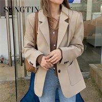 Frauenanzüge Blazer Sungtin Koreaner Vintage Büro Lady Blazer Jacken Frauen Schwarz Beiläufige Lose Outwear Eleganter Anzug Mantel Chic Taschen 20