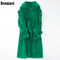 Nerazzurri Long warm fluffy faux fur trench coat for women 2020 Double breasted pink white green plus size winter fashion belt J1203