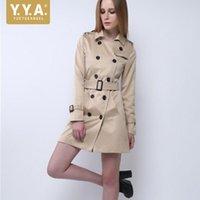 Womens Khaki 슬림 맞는 트렌치 더블 브레스트 슈즈 사무실 숙녀 긴 manteau 트렌치 코트 가을 칼라 칼라 윈드 브레이커