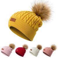 Beanie / Capas de cráneo Mujeres Gorros de invierno sombrero grueso de punto goreie sombreros pompón para niñas niños niños skullcap mujer hombre ht17