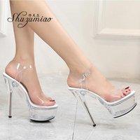 Сандалии Shuzumiao Женские Обувь Стелетоспрессная Женщина 2021 Летняя Женская Съемник Высокие каблуки 15 см Кристалл Свадьба