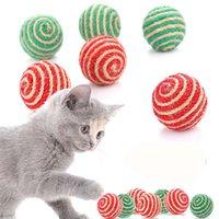 Gato Play Toy Masticing Sisal Straw Cat Pet Pey Cuerda Teaser Ball Ball Cats Productos para mascotas Color aleatorio JK2012XB