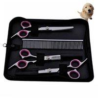 Ciseaux en acier inoxydable ciseaux de coiffure de coiffure de coiffure de cisailles de cisailles de chien peigne chiens chat chien beauté costume de toilettage