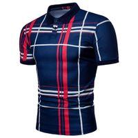 2020 новая модная рубашка повседневная мужская пледа 3d цифровая печать с короткими рукавами полоса тонкий отворот футболка
