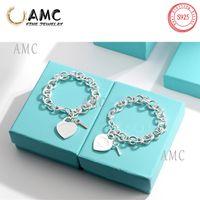 AMC 925 Sterling Silver Femme Bracelet Love In Stile Classico Clé Bracelets en forme de cœur Ot Chaîne Bijoux 1: 1 Sens de design original pour Cadeaux de vacances de petite amie