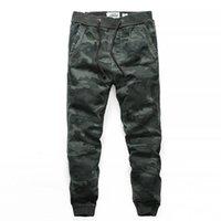Pantalones al aire libre Camuflaje para hombre Multi Pocket Cargo de algodón con cordón lápiz lápiz Pantalones Pantalones Táctico Senderismo Masculino
